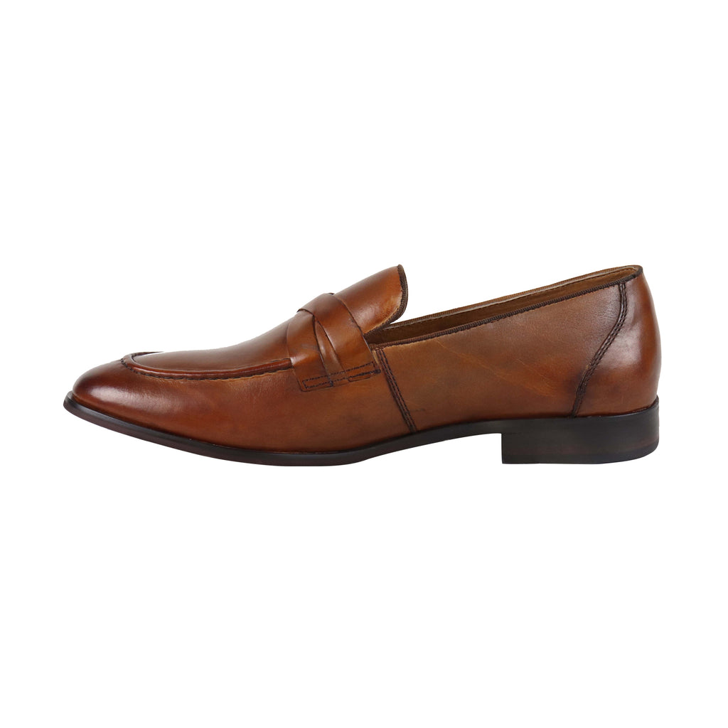 d0c02e36159 Steve Madden Offbeat Mens Tan Leather Casual Dress Slip On Loafers Shoes