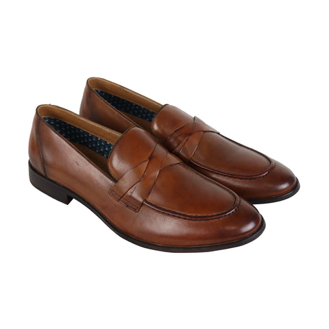 Steve Madden Offbeat Mens Tan Leather Casual Dress Slip On Loafers Shoes