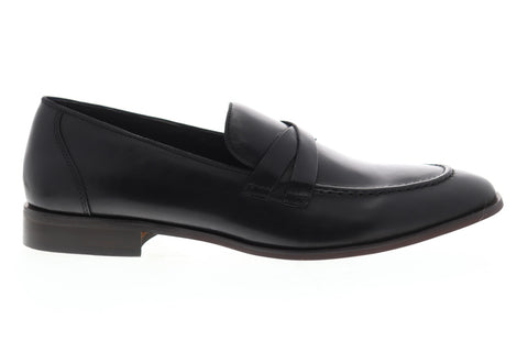 Steve Madden Offbeat Mens Black Leather Slip On Casual Loafers Shoes