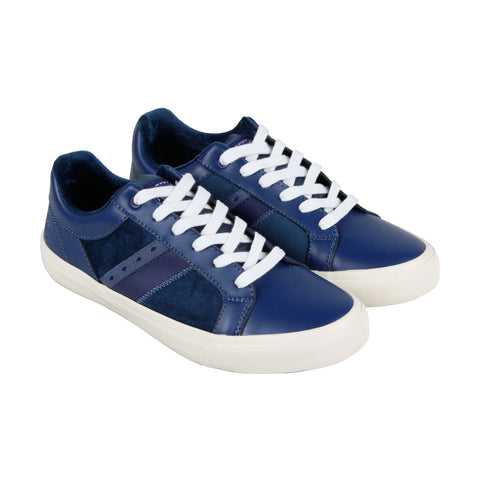 Original Penguin Bruce Mens Blue Leather Low Top Lace Up Sneakers Shoes