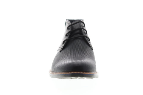 Steve Madden Osmar Mens Black Leather Casual Dress Lace Up Chukkas Shoes
