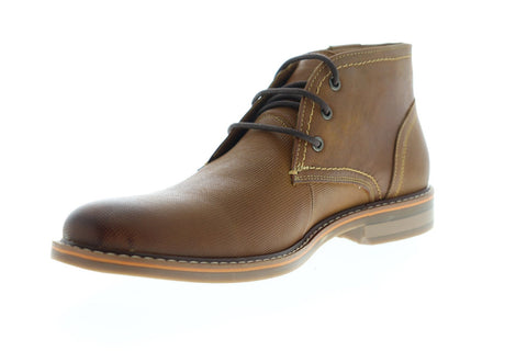 Steve Madden Osmar Mens Brown Leather Lace Up Chukkas Boots Shoes