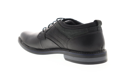 Steve Madden Ossum Mens Black Leather Casual Lace Up Oxfords Shoes