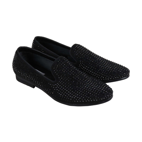 Steve Madden P-Diddz Mens Black Suede Casual Dress Slip On Loafers Shoes