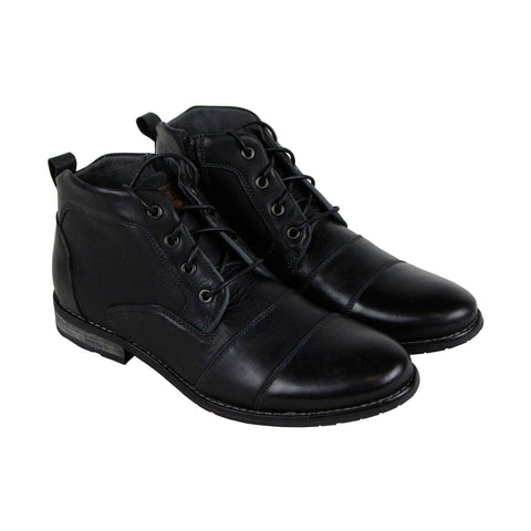 Steve Madden P-Elect Mens Black Leather Casual Dress Lace Up Boots Shoes