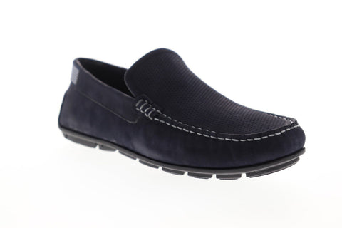 Steve Madden P-Esteem Mens Blue Nubuck Casual Slip On Loafers Shoes