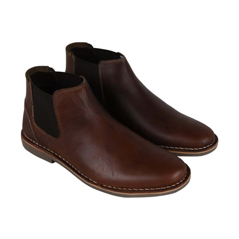 Steve Madden P-Impass Mens Brown Leather Casual Dress Slip On Boots Shoes