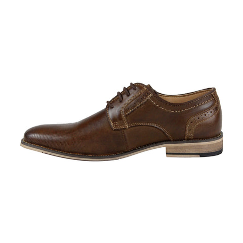 Steve Madden P-Kaptin Mens Tan Leather Casual Dress Lace Up Oxfords Shoes