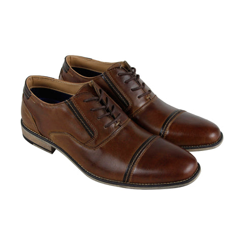 Steve Madden P-Kraft Mens Brown Leather Casual Dress Lace Up Oxfords Shoes