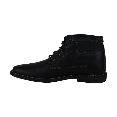 Steve Madden P-Manner Mens Black Leather Casual Dress Lace Up Boots Shoes