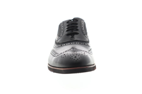 Steve Madden P-Marx Mens Black Leather Dress Lace Up Oxfords Shoes