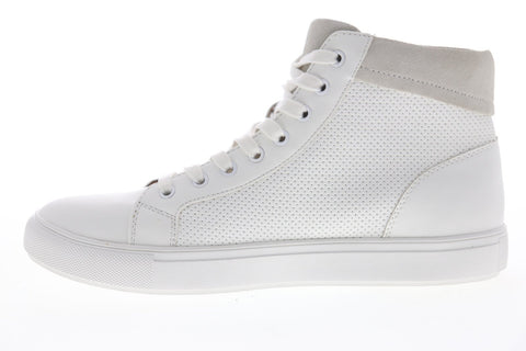 Steve Madden P-Migos Mens White Leather Lace Up High Top Sneakers Shoes