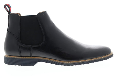 Steve Madden P-Ossie Mens Black Leather Slip On Chelsea Boots Shoes