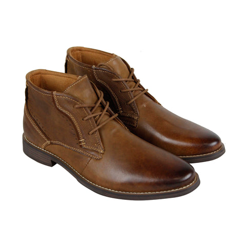 Steve Madden P-Pacer Mens Tan Leather Casual Dress Lace Up Boots Shoes