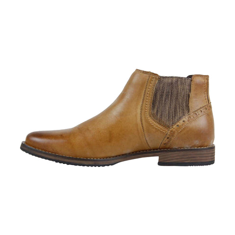 Steve Madden P-Quahog Mens Tan Leather Casual Dress Slip On Boots Shoes