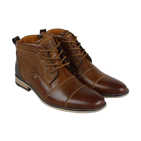 Steve Madden P-Quoth Mens Brown Leather Casual Dress Lace Up Boots Shoes