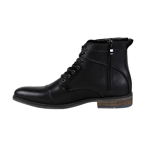 Steve Madden P-Senate Mens Black Leather Casual Dress Lace Up Boots Shoes