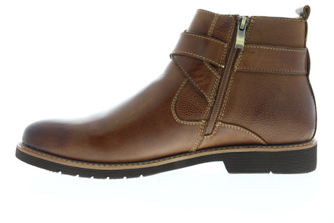 Steve Madden P-Tanur Mens Brown Leather Zipper Casual Dress Boots Shoes