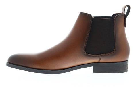 Steve Madden P-Yearn Mens Brown Leather Slip On Chelsea Boots Shoes