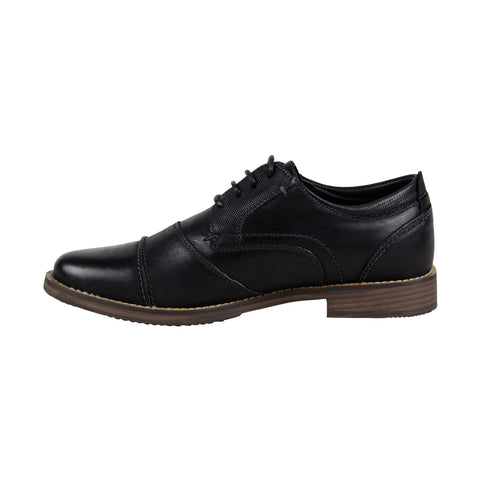 Steve Madden Pinsen Mens Black Leather Casual Dress Lace Up Oxfords Shoes