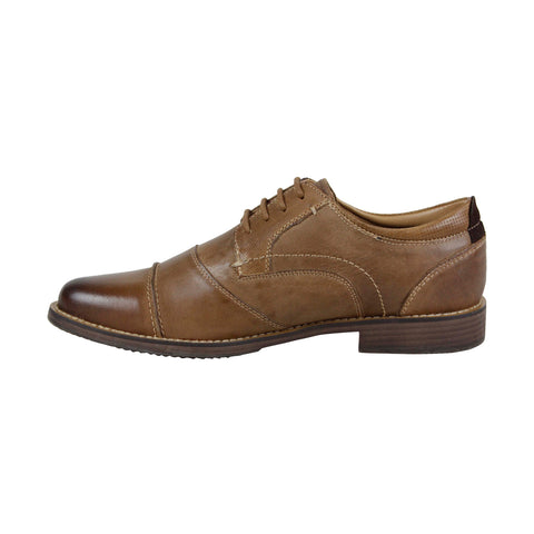 Steve Madden Pinsen Mens Tan Leather Casual Dress Lace Up Oxfords Shoes