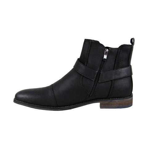 Steve Madden Radian Mens Black Leather Casual Dress Zipper Boots Shoes