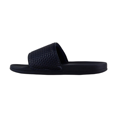 Steve Madden Riptide Mens Blue Leather Slides Slip On Sandals Shoes