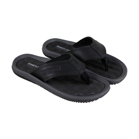 Kenneth Cole Reaction Back Flip Mens Black Leather Flip Flops Sandals Shoes