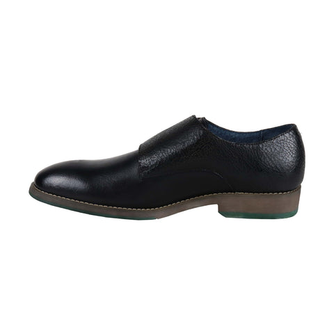 Robert Wayne Thane Mens Black Leather Casual Dress Strap Oxfords Shoes