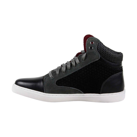 Robert Wayne Garroway Mens Black Leather & Suede High Top Sneakers Shoes