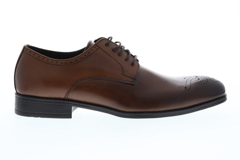 Robert Wayne Tf Vesper Mens Brown Leather Casual Dress Lace Up Oxfords Shoes