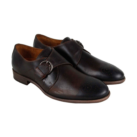 Robert Wayne Tf Montana Mens Brown Leather Casual Dress Strap Oxfords Shoes