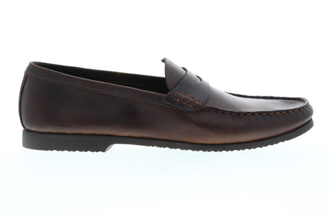 Robert Wayne Tf Archer Mens Brown Leather Casual Dress Loafers Shoes
