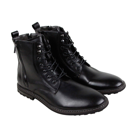 Robert Wayne Thatcher Mens Black Leather Casual Dress Lace Up Boots Shoes