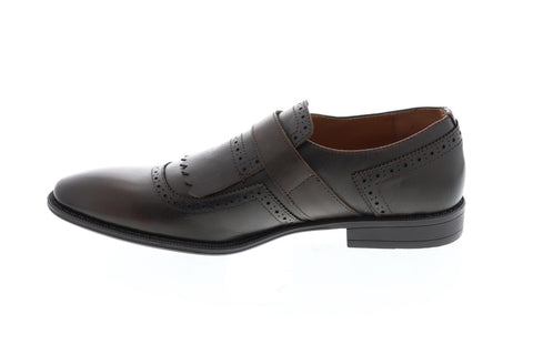 Robert Wayne Callan Mens Brown Leather Casual Dress Strap Oxfords Shoes