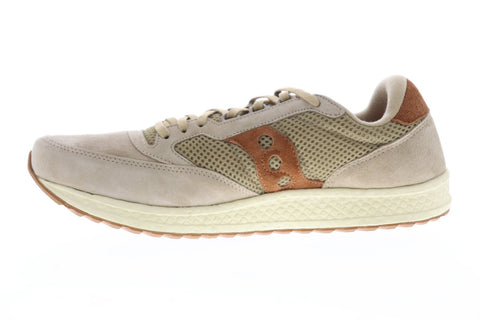Saucony Freedom Runner Mens Tan Suede & Mesh Low Top Lace Up Sneakers Shoes