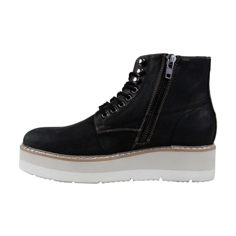 Steve Madden Sayne Mens Black Leather Casual Dress Lace Up Boots Shoes