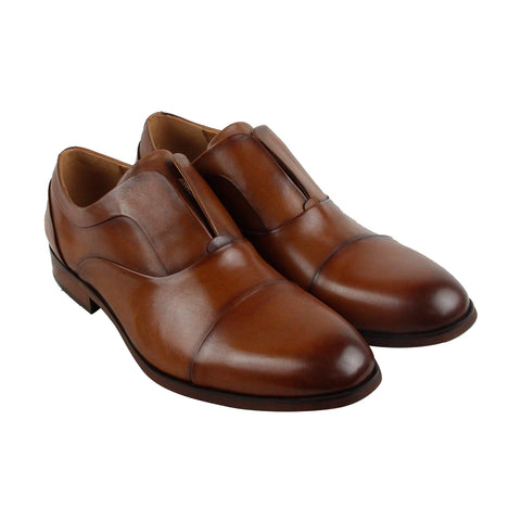 Steve Madden Scheme Mens Brown Leather Casual Dress Slip On Loafers Shoes