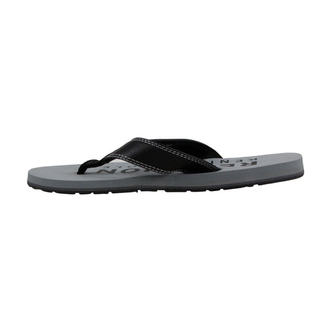 Kenneth Cole Reaction Fresh Start Mens Black Leather Flip Flops Sandals Shoes