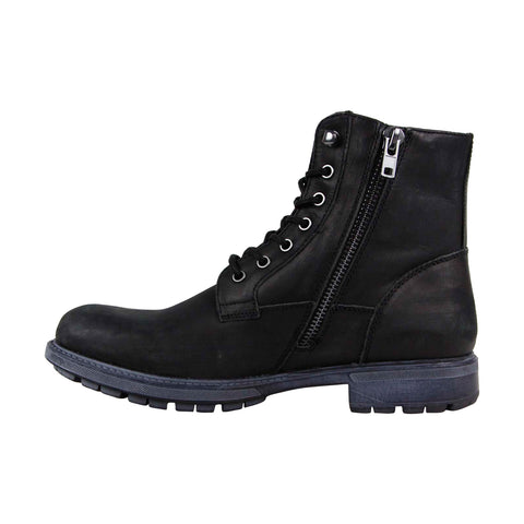 Steve Madden Smoky Mens Black Leather Casual Dress Lace Up Boots Shoes