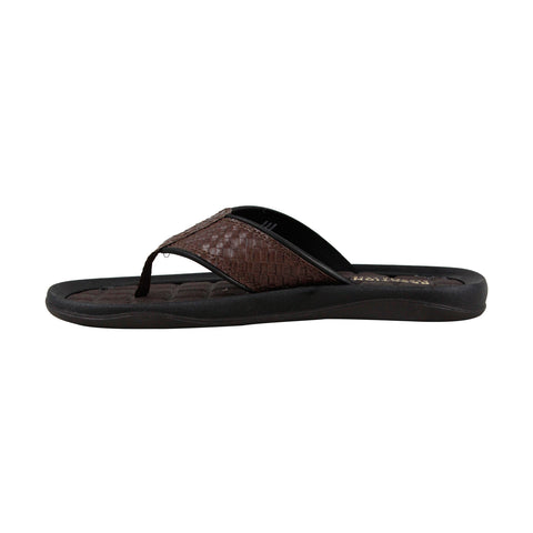 Kenneth Cole Reaction Go Four Th Mens Brown Leather Flip Flops Sandals Shoes