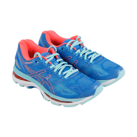 Asics Gel Nimbus 19 Womens Blue Mesh Athletic Lace Up Running Shoes