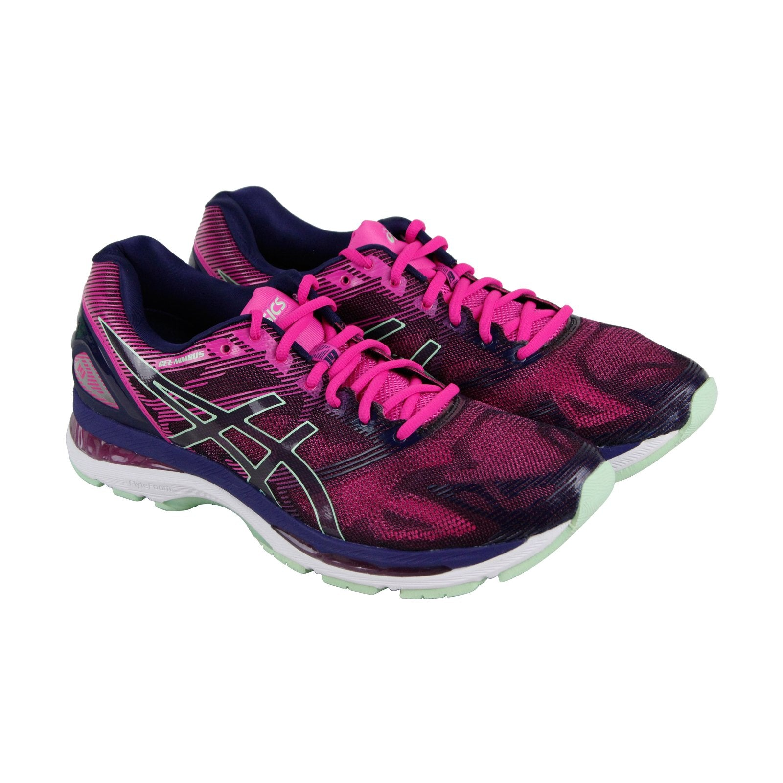 the best attitude f5f8c 6abdb Asics Gel Nimbus 19 Womens Pink Nylon Athletic Lace Up Running Shoes
