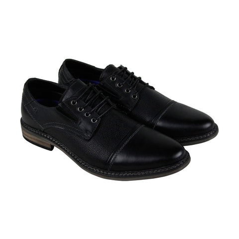 Steve Madden Tabloid Mens Black Leather Casual Dress Lace Up Oxfords Shoes