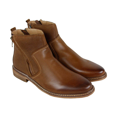 Steve Madden Tackled Mens Tan Leather Casual Dress Zipper Boots Shoes