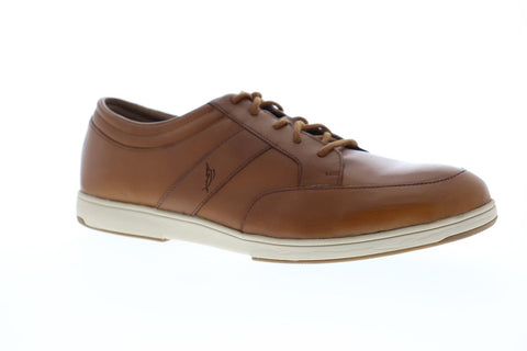 Tommy Bahama Caicos Authentic Mens Tan Leather Low Top Lace Up Sneakers Shoes