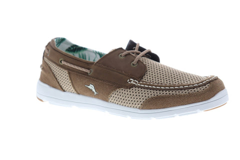Tommy Bahama On Par Spectator Mens Beige Mesh Casual Dress Boat Shoes