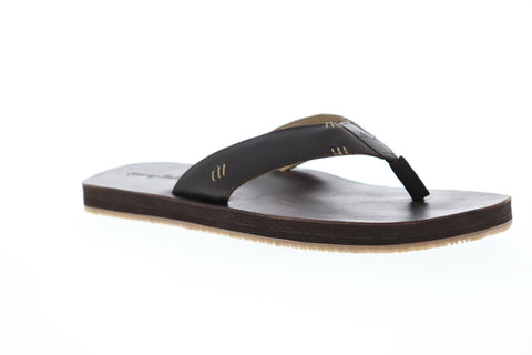 Tommy Bahama Adderly Mens Brown Leather Flip Flops Slip On Sandals Shoes