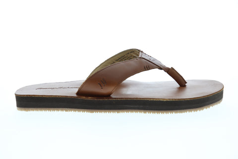 Tommy Bahama Adderly Mens Tan Leather Flip Flops Slip On Sandals Shoes