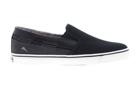 Tommy Bahama Journey Mens Black Textile Slip On Sneakers Shoes